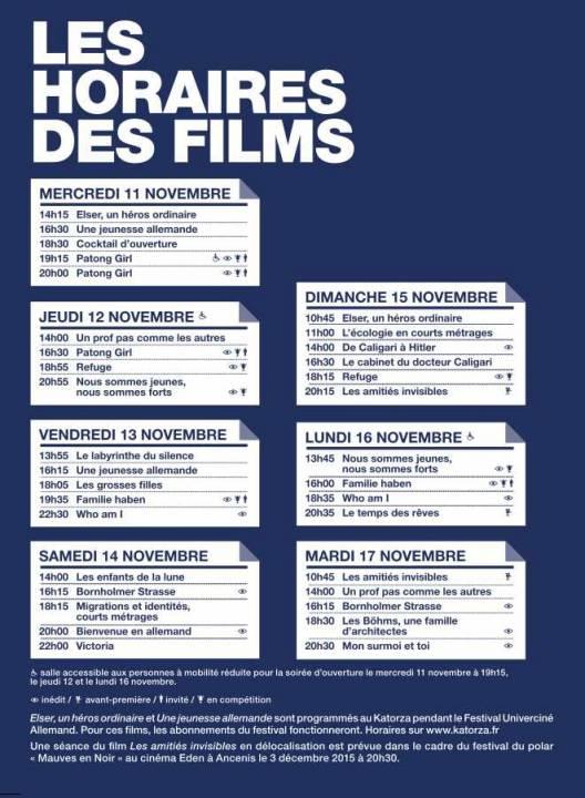 Programme cinéma Allemand 2015